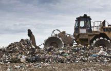 bulldozing in a landfill
